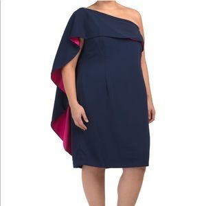 NWT CARMEN MARC VALVO OVERLAY ONE SHOULDER DRESS